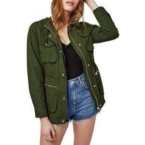 Topshop Green Hooded Double Lined Utility Jacket
